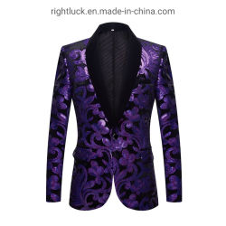 Fashion Lantejoulas Tuxedo Casaco Blazer Vest Calças fatos de vestuário