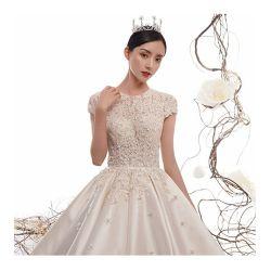 Mangas cortas de encaje de la línea de un vestido de novia vestido de novia apliques