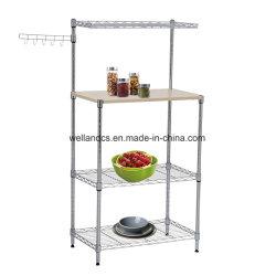 Metal cromado Baker Rack do Utilitário de prateleira de cozinha microondas Stand de pranchas de madeira e Gancho