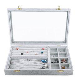 Gris argenté bague Bijoux de velours de glace Earring Necklace Boîte de rangement avec couvercle en verre