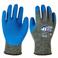 Super Cut устойчив! 10g кевлара гильзы с голубым покрытием из латекса Crinkled защитные перчатки