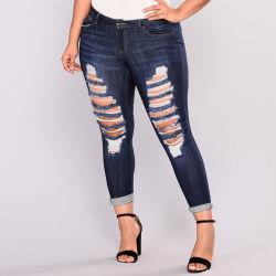 Dernière conception Plus Size endommagé Waisted jeans déchirés Womens haute