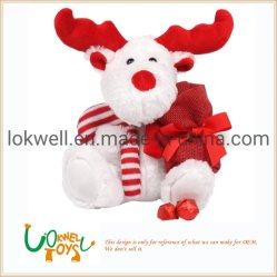 Plush Urso de neve com galhadas recheado animais brinquedos de Natal