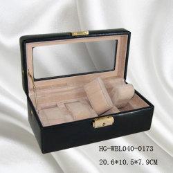 Venda por grosso de couro da tampa de madeira 4PCS Assista a caixa Exibir com janelas de vidro