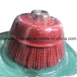 6 インチ赤色ナイロン研磨カップブラシ (YY-235)