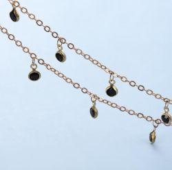 Ficha preta de 4 mm da tampa frontal da cadeia de fabrico artesanal de diamante cadeia artesanais jóias achados de joalharia étnica retro de Acessórios