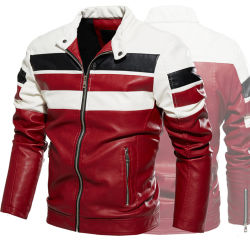Los hombres de moda de cuero negro de la motocicleta Moto Chaqueta Chaqueta Chaqueta ropa para hombre