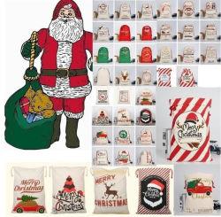 Nouveau sac de cadeaux de Noël avec le renne Santa Claus Sac en coton offre groupée de protection environnementale de la bouche Sac en toile de l'orignal Sac de Noël