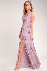 Womens Floral de lavanda Imprimir vestido largo, de la mujer al por mayor vestido de novia