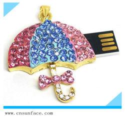 مجوهرات ملونة على شكل مظلة محرك فلاش USB Memory Stick 2 جيجا بايت 4 جيجا بايت
