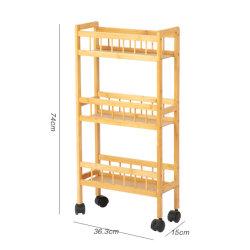 Cocina de laminación de bambú multifunción Carro con estantes abiertos