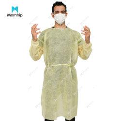 노란색 비 우븐 롱 슬리브 환자 방문객 시험 레벨 2 병원 불침투성 보호복 일회용 격리 가운