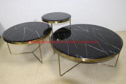 현대적인 디자인의 거실 가구 Golden Metal Frame Glass 커피 테이블