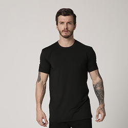 Comercio al por mayor Camiseta negra Mens Fitness normal tshirt