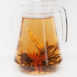 Chinesischer handgemachter künstlerischer Tee, Blüten-Tee, blühender Tee, blühende Tee-Kugeln mit kundenspezifischem Geschenk-Paket