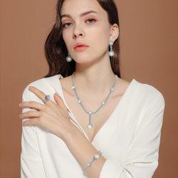 Nueva llegada 925 Silver Bisutería perla con circonios set completo para dama