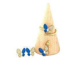 Nouveau design mignon 925 Bijoux en argent plaqué or Bijoux Set papillon