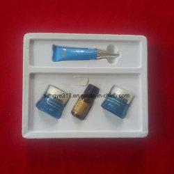 Flocage plaquette thermoformée dans le bac de cosmétiques
