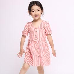 Kind-Kleid-Kurzschluss-Hülsen-Fußleisten-Baby-Kleid-Kleidung