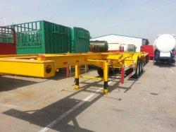 2 eje Eje 3 contenedores de superficie plana de 40 pies el esqueleto Camión semirremolque