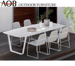Moderner chinesischer im Freien Garten-Ausgangseisen-Arm-Stuhl-rechteckiger Tisch-gesetztes Gewebe, das Möbel speist