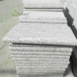 Hellgrauer geflammter Treppen-Aufbruch mit rundem Rand, Granit-Jobstepps mit vollem Bullnose, graue Steingranit-Treppen-Schritte Bullnose