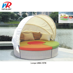 등나무 야외 원형 일광욕 침대, 둥근 라운지 스위트, 선베드 비치 고급 라탄 선 라운저 라운지용 침대