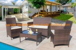 屋外のテラスの家具4部分はセットする藤の椅子の枝編み細工品セット、屋外の屋内使用の裏庭のポーチの庭のプールサイドのバルコニーの家具(媒体)を