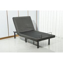 편안한 감싼 조절식 침대 베이스, 마사지, 무선 리모콘, 3레그 하이츠, USB 포트 - 인체공학, 트윈 XL, 검은색