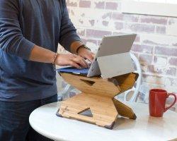 Le bambou X-Stand Portable Stand, Bois de Bambou, ajustable Bureau permanent de pliage pour les ordinateurs portables BT-2205