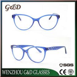 Новый дизайн моды леди женщин Cat Eye ретро стиле Pearl декор высокого качества ацетат оптический кадры бутик очки