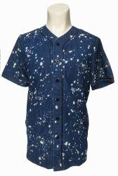 人の綿の偶然のワイシャツは、Collarless不足分デニムのワイシャツにスリーブを付ける