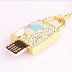 De Gift Pendrive van het Meisje van de Stok van het Geheugen van de Aandrijving van de Flits van het Slot USB van het Kristal van de Juwelen van de manier 32GB 16GB 32GB 64GB
