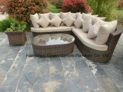 Le sofa en osier de jardin a placé avec le bac de fleur latéral