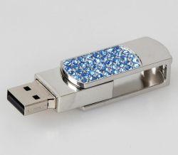 Bastone dell'azionamento del pollice di memoria del USB del regalo del diamante di Jewellry del metallo della parte girevole