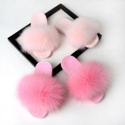 冬のエヴァの卸し売りホーム屋内毛皮で覆われた柔らかい女性の実質のキツネの毛皮のスリッパ