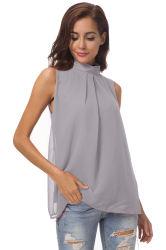 Génial Women's Shirt sans manches en mousseline Stand col chemisier de mode