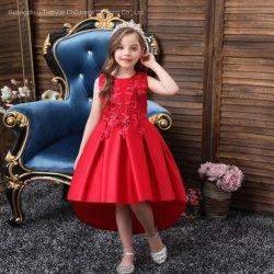 Producten van de Baby van de Kleding van de Partij van de Kleding van de Prestaties van de Kleding van de met de hand gemaakte Kinderen van de Kleding van de Meisjes van de Kleding van de Prinses van de Avondjurk van het Satijn van Bloemen de vijf-Kleur Afgedrukte