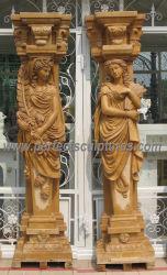 入口のゲートのポーチの装飾(QCM127AB)のためのWoman Statue Column Pillarホーム装飾的な切り分けられた石造りの彫刻の大理石の切り分ける女性