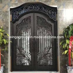 Украсьте Arc стекла из кованого железа стальные двери безопасности Wg-Sg-08