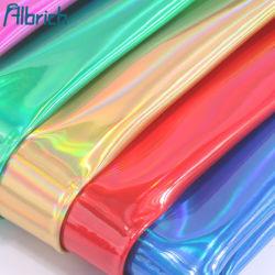 Espelho de laser a cores de magia de couro PU couro estojo de couro de patente de couro inferior do saco tecido sacos de embalagem