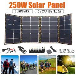 250W het vouwbare Zonnepaneel van het Zonnepaneel 18V voor het Kamperen de Lader van de Zonnecel voor de Mobiele Bank van de Macht voor de Haven van de Batterij DC/USB van de Telefoon