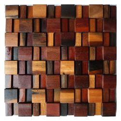 داخليّة [بكسبلش] ملحومة [3د] تأثير جدار فسيفساء طبيعيّ ريفيّ خشبيّة