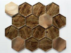 Heißes Verkaufbrown-hölzernes Korn-sechseckige 73 Glasmosaik-Fliesen/Prolain Mosaik/Toilette/Baumaterial/Mosaikplattor