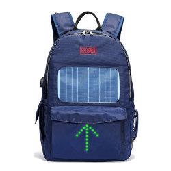 Tela de nylon resistente al agua de la luz de flash LED del cargador solar Mochila mochila de deporte con el cable USB (RS-190204-3)