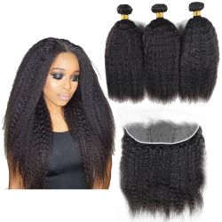Kbeth الجودة الكبرى cutilcle الانحياز سميكة كاملة الشعر البرازيلية مع 13*4 أذن إلى lace Frontals ، Kinky مستقيم الشعر الصين المصنع بالجملة