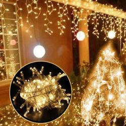 Venda por grosso de fadas de Natal Garland 3X1/3X2/3X3m LED Branco Quente Fadas Corda música Icicle Luz de String para piscina Home casamento festa Cortina decoração de jardim