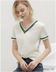 Dama de promoción nueva moda manga corta con cuello en V tejido de Algodón / Poliéster Casual Camiseta mujer ropa sport vestir