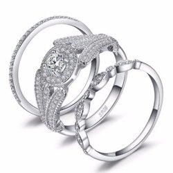 Schmucksache-preiswerter Sterlingverlobungsring der silbernen Hochzeits-925 eingestellt für Paare Großhandels