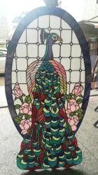 Tiffany Style Vidrio Manchado Iglesia Arte Cola de Pavo Real Rosas Rosadas Ventana Decorativa Panel Colgante Suncatcher